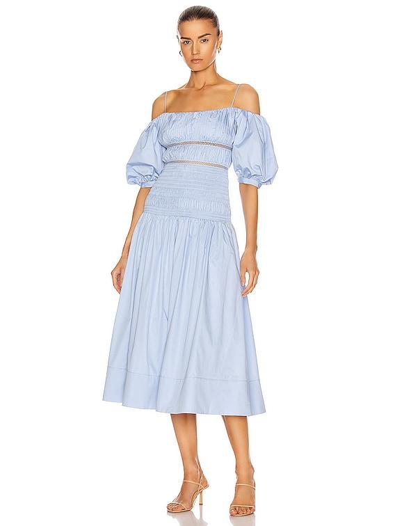 Cotton Poplin Midi Dress in Light Blue