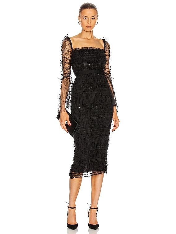 Dot Mesh Midi Dress in Black