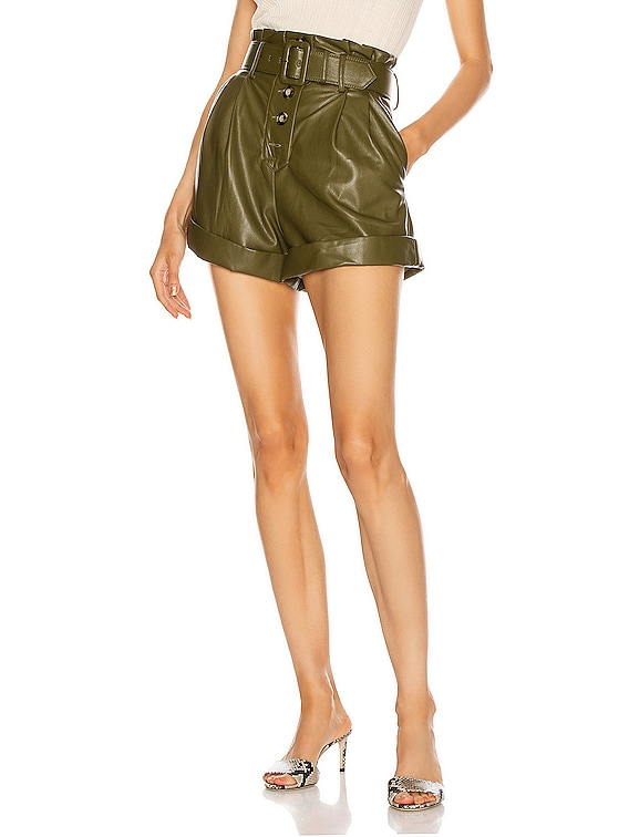 Faux Leather Shorts in Olive Green