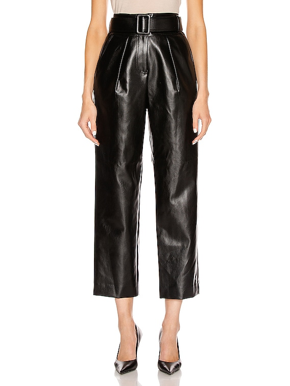 Faux Leather High Waist Trouser Pant in Black