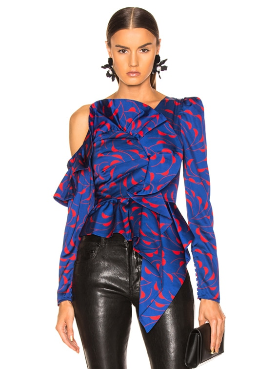 Printed Frill Top in Navy & Red