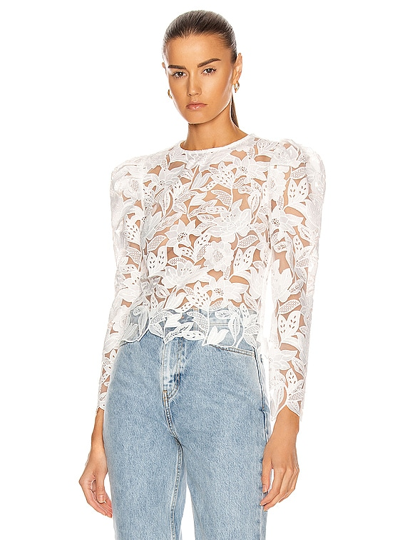 Long Sleeve Leaf Guipure Top in White