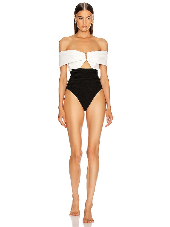 Monochrome Ruched Off Shoulder Swimsuit in White & Black