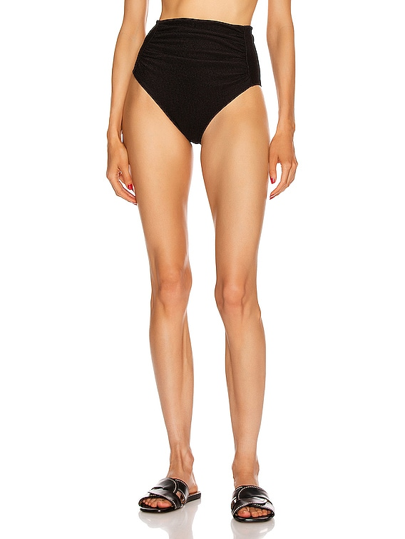 Ruched High Waisted Briefs in Black