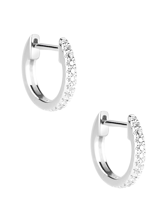 Diamond Pave Huggie Earrings in White Gold & Diamond