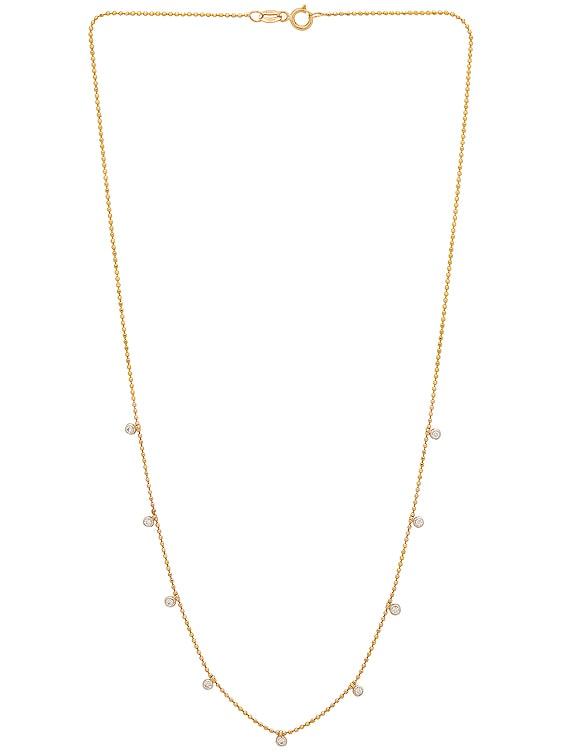 Teeny Dangling Diamond Bead Chain Necklace in Gold & Diamond