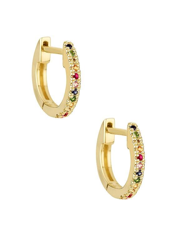 Rainbow Sapphire Pave Huggie Earrings in Gold & Multi