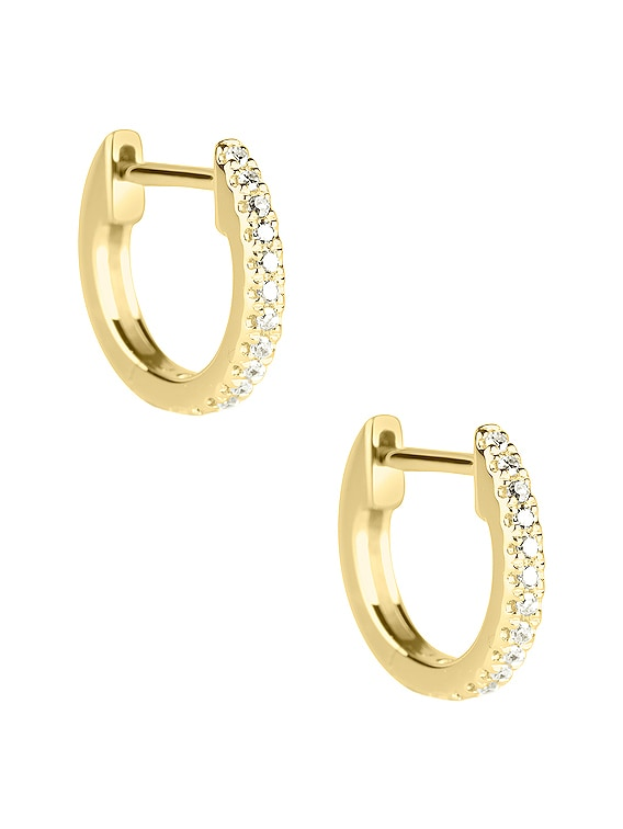 White Diamond Pave Huggie Earrings in Gold & Diamond