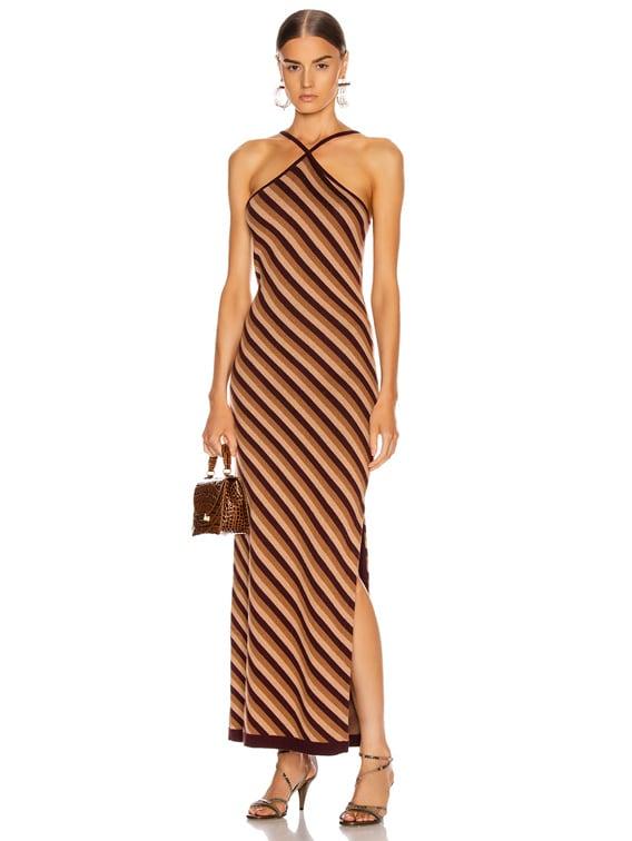 Carmel Dress in Brown Multi Diamond