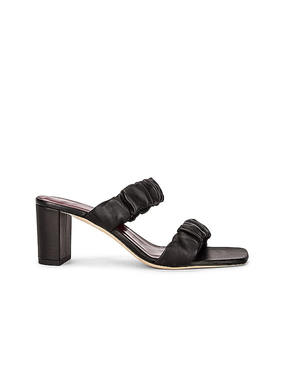 Frankie Ruched Sandal in Black