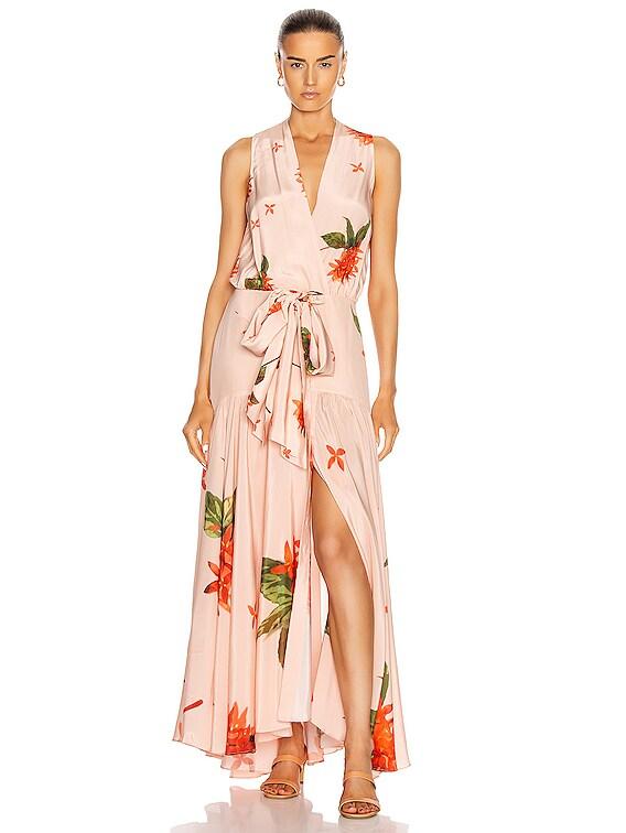 Ada Luz Dress in Coral Flower