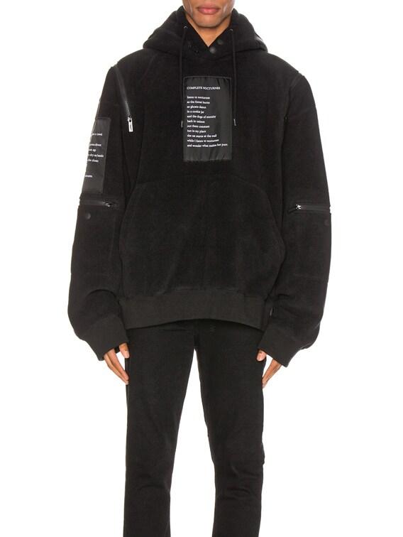 Shoulder Zip Pullover Hoodie in Black
