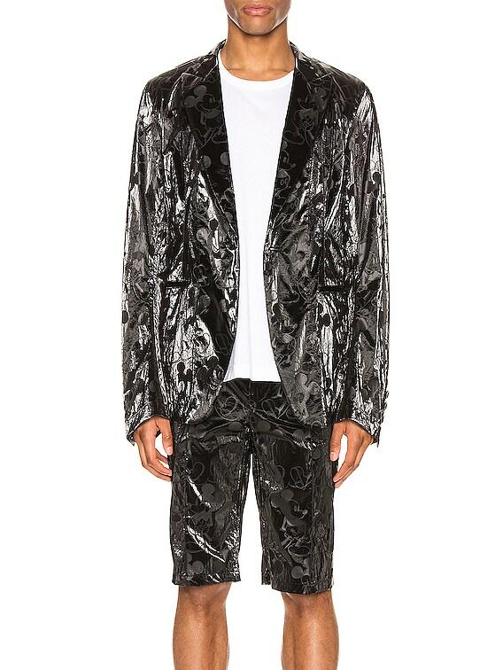 Single Breasted Peaked Lapel Jacket in Black & Black