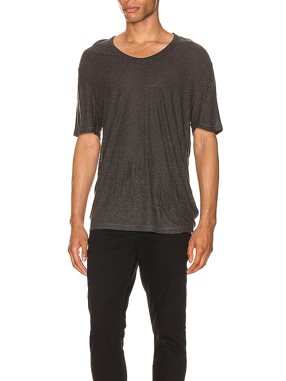 Low Neck Tee in Charcoal
