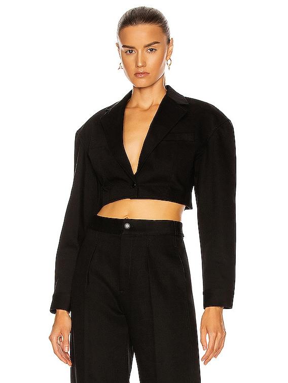 Denim Cropped Blazer in Black