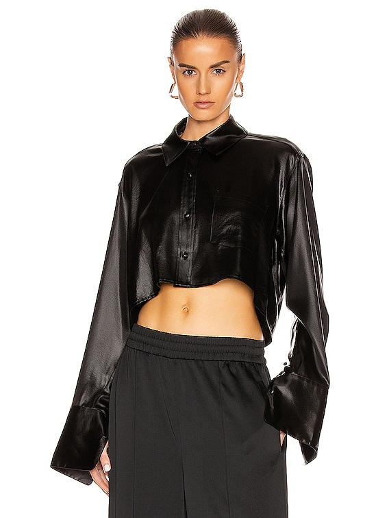 Wet Shine Wash & Go Cropped Button Down in Black