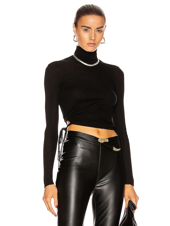 Ruched Rib Long Sleeve Cropped Turtleneck Top in Black