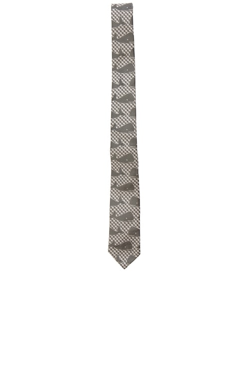Whale Houndstooth Tie in Medium Grey