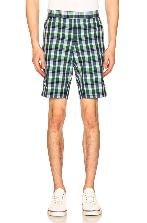 Mid Rise Madras Check Short in Blue