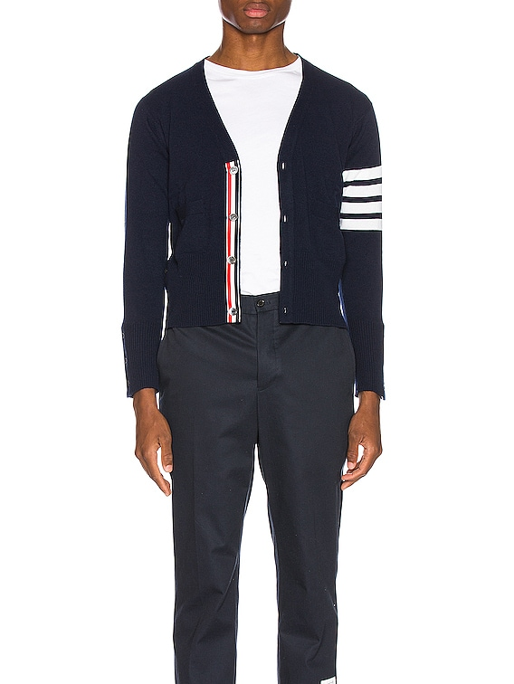 Cashmere Cardigan with Bar Stripe Sleeve in Navy
