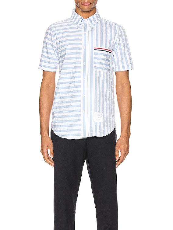 University Stripe Short Sleeve Shirt in Light Blue