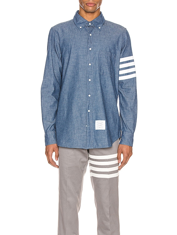 Straight Fit Button Down Long Sleeve Shirt in Blue