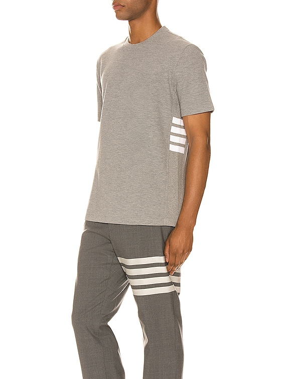 4 Bar Short Sleeve Cuff Tee in Light Grey