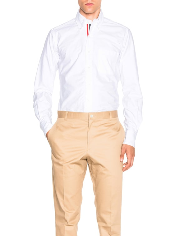 Classic Button Down with Ribbon Placket in White