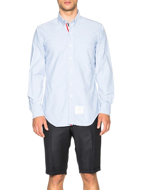 Classic Cotton Button Down with Ribbon Placket in Light Blue