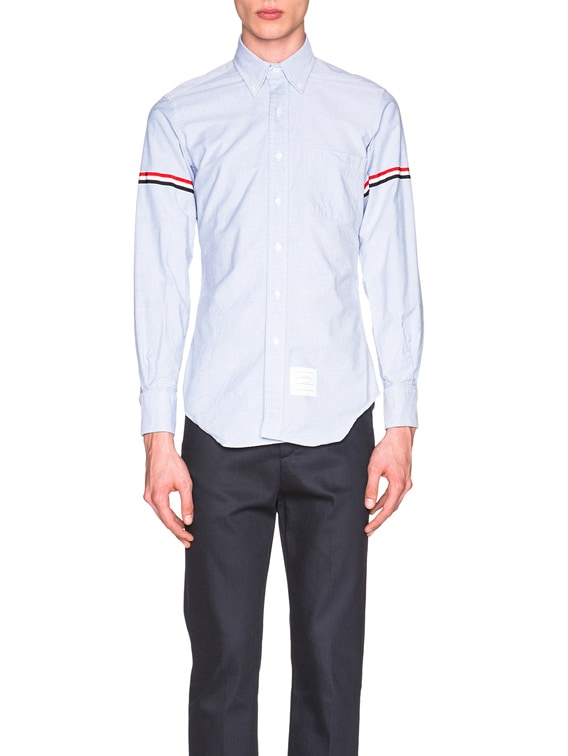 Classic Button Down with Grosgrain Armbands in Light Blue