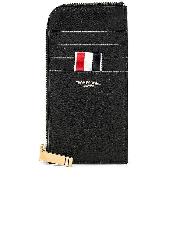 Pebble Grain Half-Zip Wallet in Black