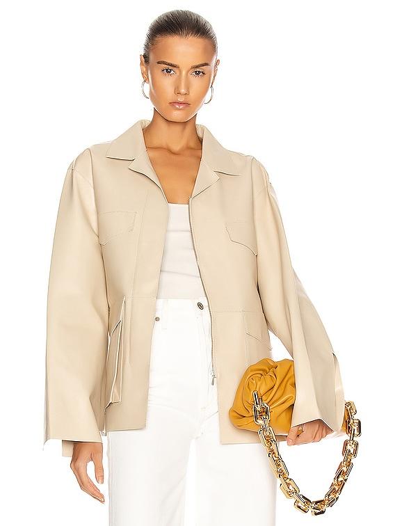 Avignon Leather Jacket in Ivory