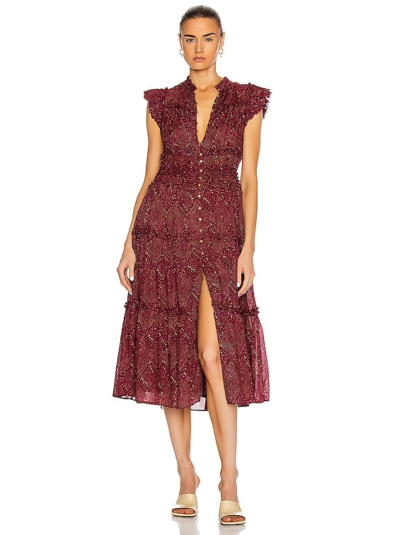Rosalind Dress in Mulberry Diamond