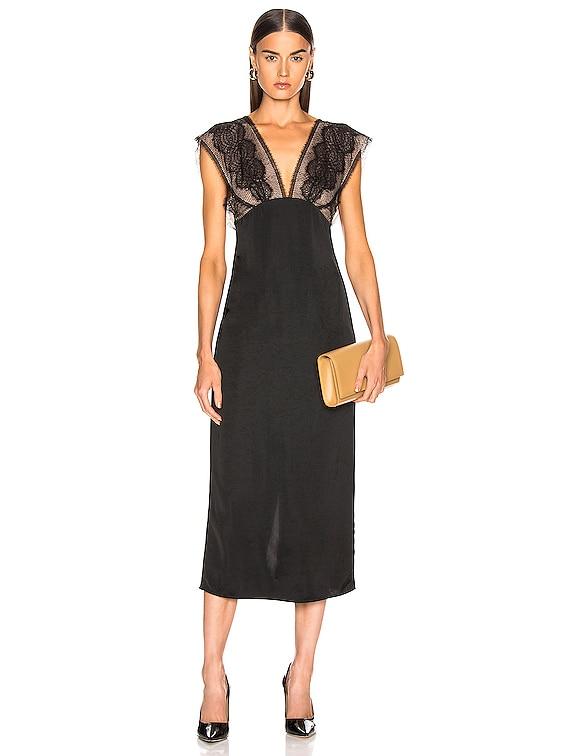 Lace Tabbard Midi Dress in Black