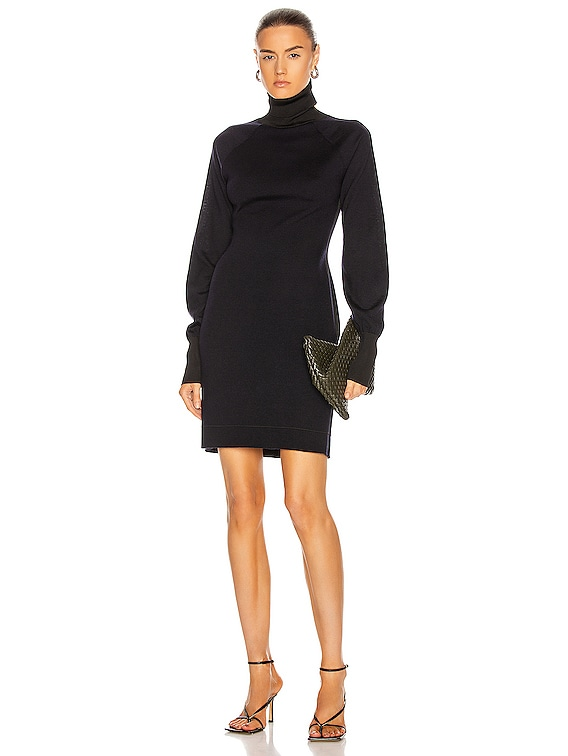 Woolshine Evening Mini Jumper Dress in Navy & Black
