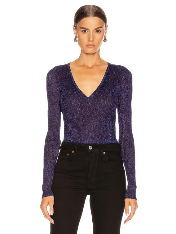 Esmeralda V Neck Pullover Top in Purple