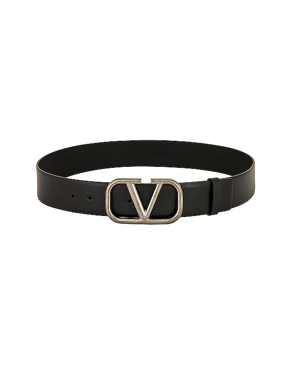 V Logo Belt in Black