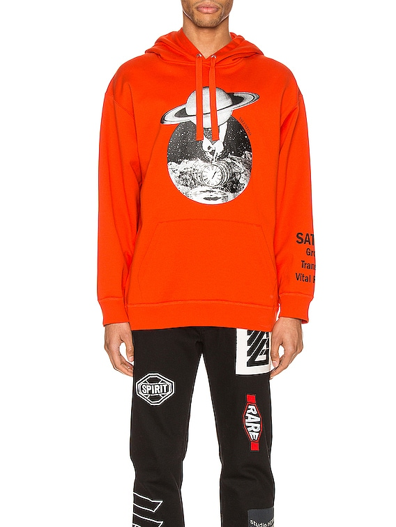 Print Hoodie in Orange & Saturn