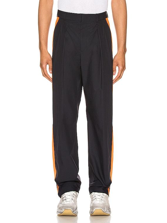 Poplin Pants in Navy & Mandarin Orange