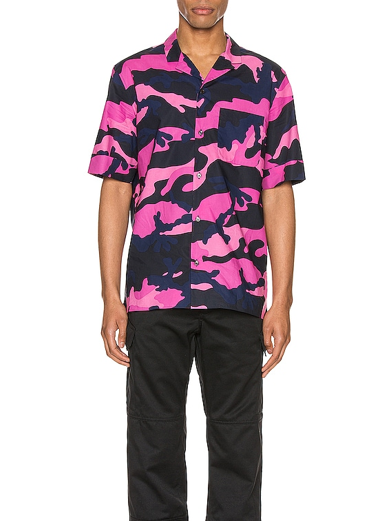 Short Sleeve Shirt in Navy Camo & Pink