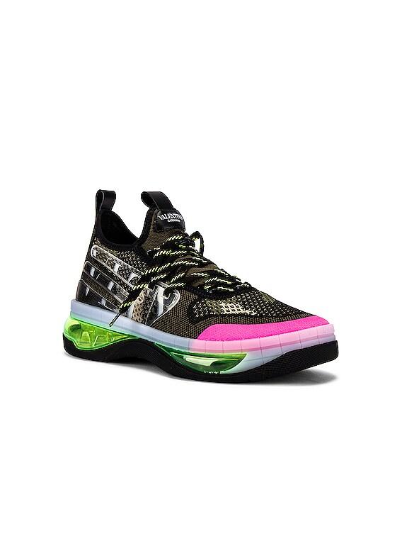 Low Top Sneaker in Green & Fuchsia & Black