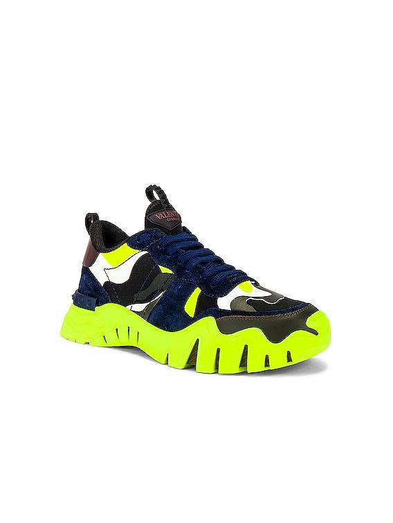Valentino Garavani Low Top Sneaker in Black & Lime & Olive Green