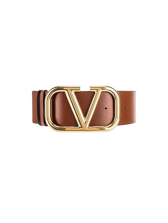 VLogo Leather Belt in Selleria & Black