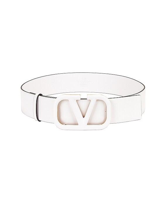 Vlogo Leather Belt in Bianco Ottico