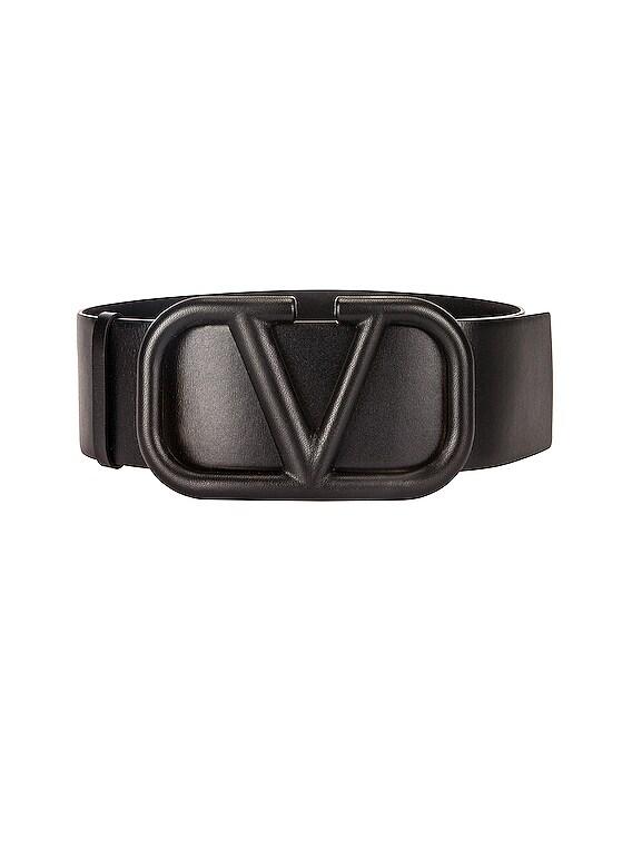 Vlogo Leather Belt in Black