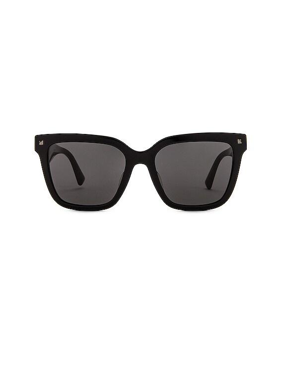 Acetate Logo Sunglasses in Black & White