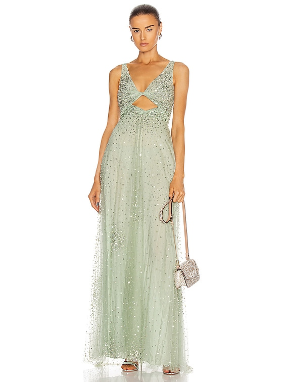 Embellished Gown in Argento & Malachite