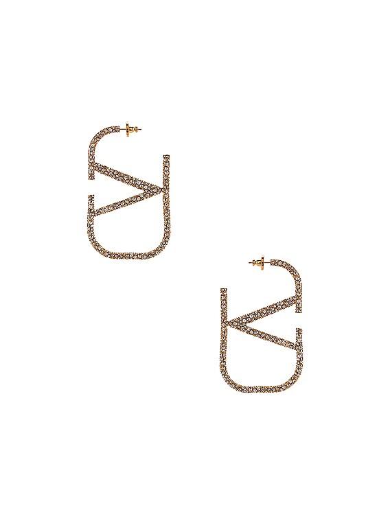 VLogo Earrings in Gold & Crystal Silver