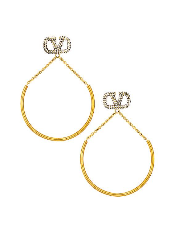 VLogo Pendant Earrings in Crystal & Silver Shade