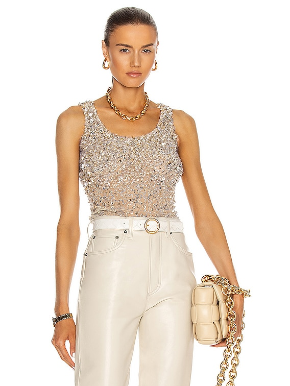 Top Embroidered in Dirty Ivory & Silver